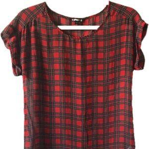 Express short sleeve plaid blouse
